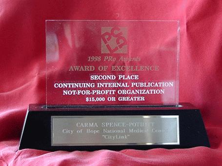 Carma's 1998 PCLA PRo Award