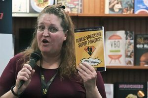 Carma speaking about her book at the Polaris Barnes & Noble in Ohio.