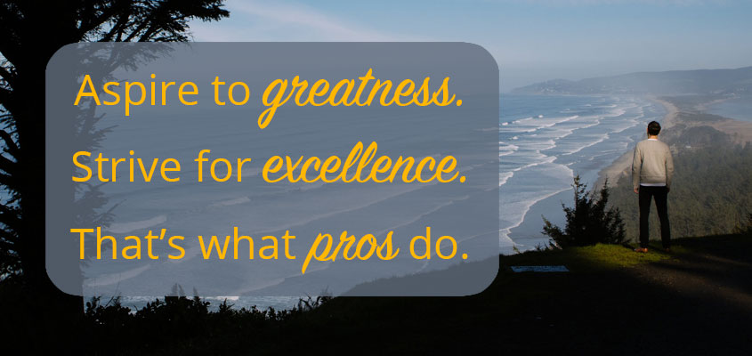 Aspire to greatness. Strive for excellence. That's what pros do.